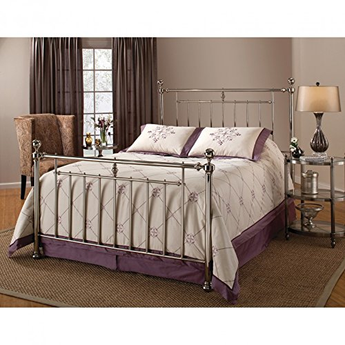 Nickel Metal Headboard (Hillsdale Furniture 1251BFR Holland Bed Set with Rails, Full, Shiny Nickel)