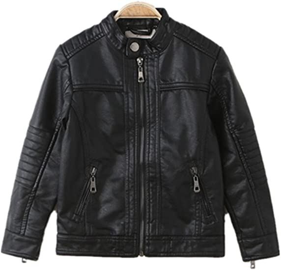 LJYH Boys Leather Jacket Spring Childrens Collar Motorcycle Faux Leather Zipper Coat