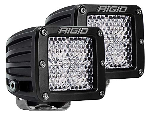 (Rigid Industries 202513 D-Series Pro Diffused Light; Surface Mount; Hybrid; 4 White LEDs; Black Square Housing; Set Of 2;)