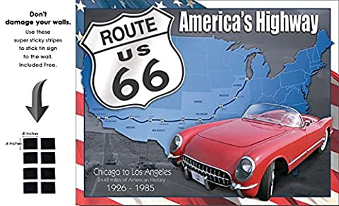 Shop72 - Route66 American Highway Tin Sign Retro Vintage Distrssed - With Sticky Stripes No Damage to (Dodge Night Runner)