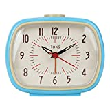 Lily's Home Quiet Non-ticking Silent Quartz Vintage/Retro Inspired Analog Alarm Clock - Blue