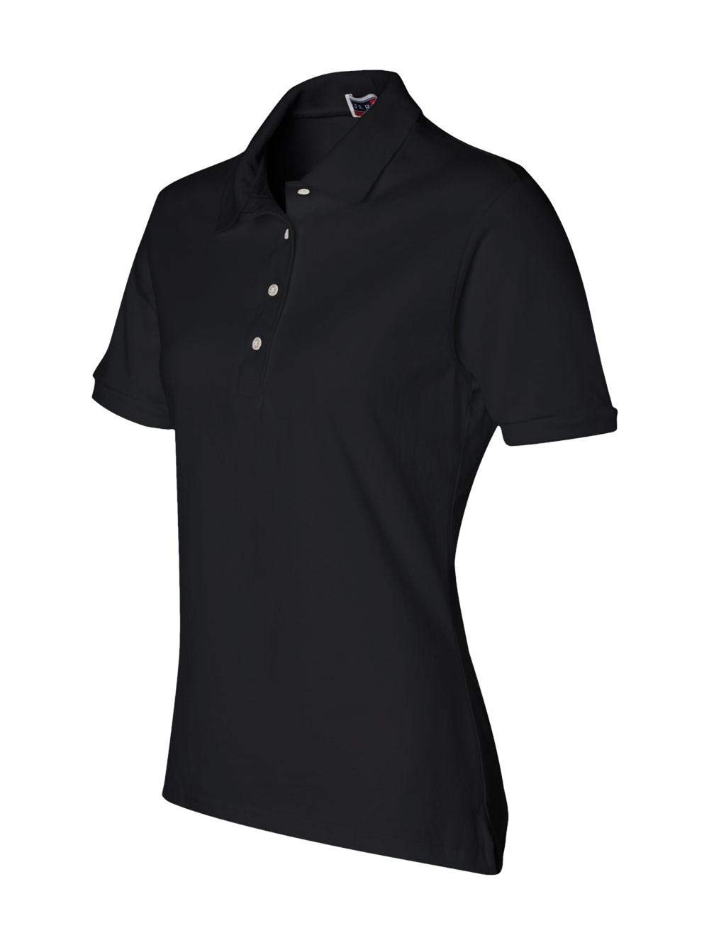 Jerzees womens 5.6 oz. 50/50 Jersey Polo with SpotShield(437W)-BLACK-M