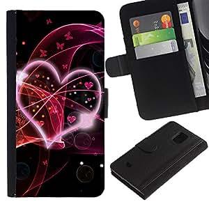 LASTONE PHONE CASE / Lujo Billetera de Cuero Caso del tirón Titular de la tarjeta Flip Carcasa Funda para Samsung Galaxy S5 Mini, SM-G800, NOT S5 REGULAR! / Love Pink