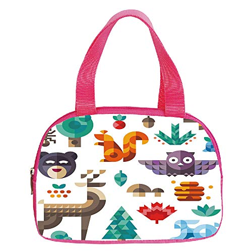iPrint Increase Capacity Small Handbag Pink,Kids,Cute Cheerful Poly Art Style Animals Owl Bear Bunny Apple Dear Nursery Baby Design,Multicolor,for Girls,3D Print Design.6.3