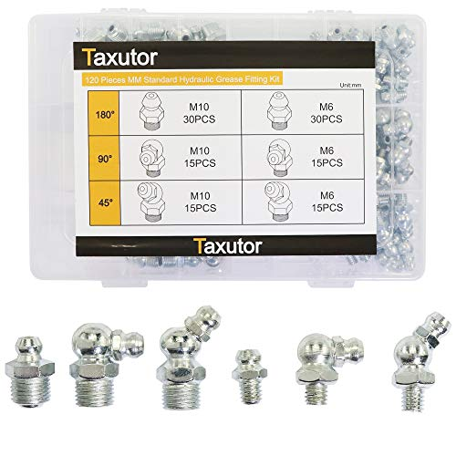 Taxutor 120-Pieces MM Metric Hydraulic Grease Fitting Assortment Set - M6 M10 Straight, 45-Degree, 90-Degree Angled Zerk