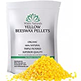 Organic Yellow Beeswax Pellets 1 lb (16 oz), Pure, Natural, Cosmetic Grade, Top Quality Bees Wax Pastilles, Triple Filtered, Great For DIY Lip Balms, Lotions, Candles By White Naturals