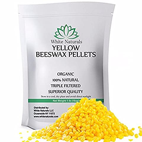 Organic Yellow Beeswax Pellets 1 lb , Pure, Natural, Cosmetic Grade, Bees Wax Pastilles, Triple Filtered, Great For DIY Projects, Lip Balms, Lotions, Candles By White - Black White Hair Pomade