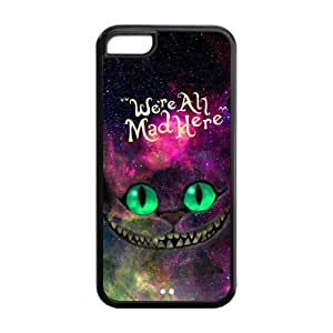 Super Nebula Galaxy Space Cheshire Cat Hard Rubber Cell Cover Case for iPhone 5C,5C Phone Cases