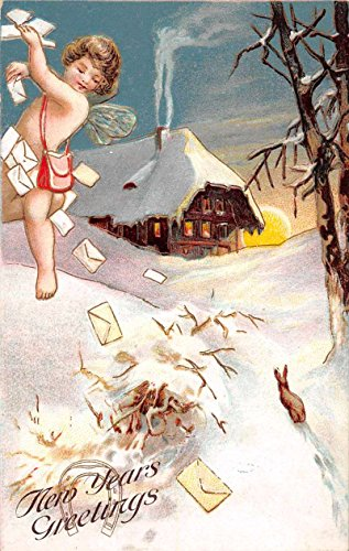 New Years Greetings Angel Cherub Letter Carrier Mail Antique Postcard ()