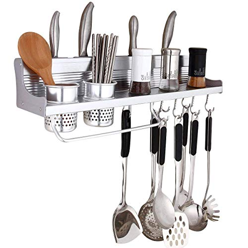 GracesDawn Aluminum Multipurpose Kitchen Utensils Holder Organizer (No Drilling)23.5inch Storage Stand Kitchen Utensils,Wall Mounted Kitchen Organizer Rack Include Spice Rack,Spoon Ladle Hanger,2Xcup