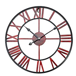 Boquite Roman Numerals Classic Metal Large Round Shaped Antique Iron Wall Clock(Burgundy 40cm in Diameter)