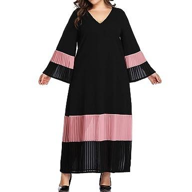 Autumn Maternity Pregnant Women V-Neck Long Maxi Dress 3//4 Sleeve Gown Plus Size