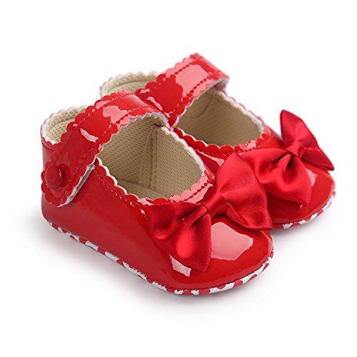 mommyjennie bebé niñas suela suave borla Bowknots sintética zapatos de piel Mocasín rosa rosa Talla:Suitable Age0~6 month rosso