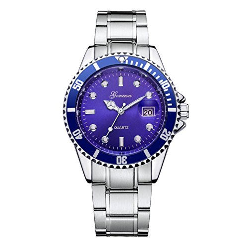 Date Gents Watch - Vovomay Stainless Steel Date Wrist Watch, Mens Fashion Military Date Sport Quartz Analog Wrist Watch Wrist Watch Dial Clock (Blue)