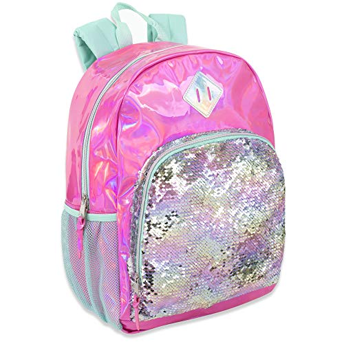 (Holographic Laser Leather Reversible Sequin Backpacks for Women and Girls, with Water Bottle Holder, Padded Straps)