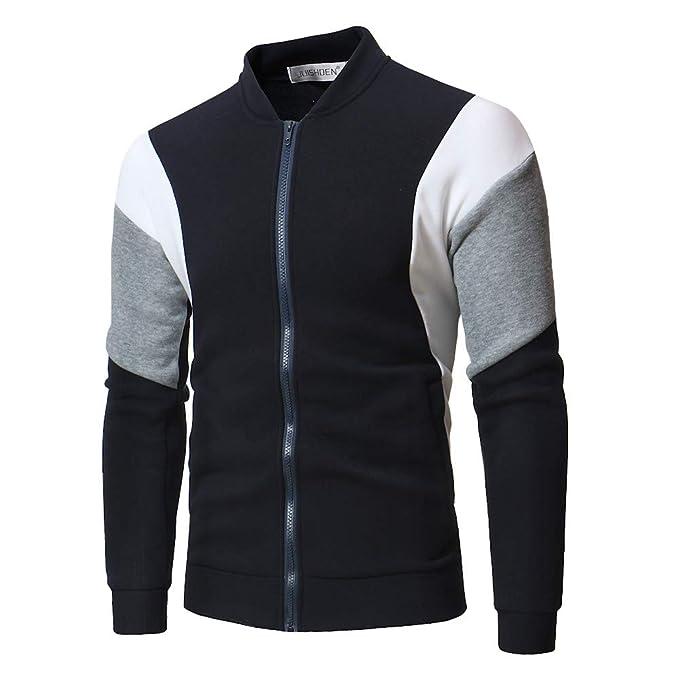 Haoricu Men's Stand Collar Zipper Bomber Jacket Baseball Coat Loose Sweatshirt Shirt by Haoricu