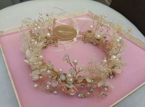 MeeTHan Pearl Shell Tiara Flower Crown Headband : S16 (Pearl Ribbon)