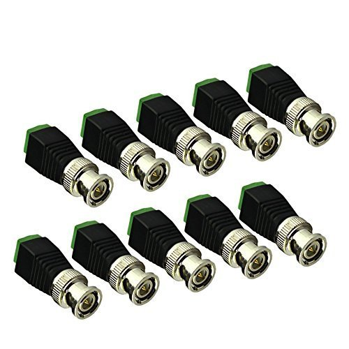 Superadapter 10 Pack Coaxial Camera Vedio BNC Male Balun Connector for Coax CAT5 to CCTV	 primary