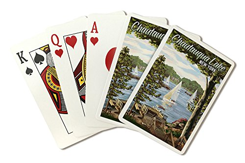 Chautauqua Lake, New York - Lake View and Sailboats (Playing Card Deck - 52 Card Poker Size with Jokers) by Lantern Press