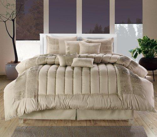Chic Home 8-Piece Seville Embroidered Comforter Set, Queen, Taupe - Seville Comforter Set