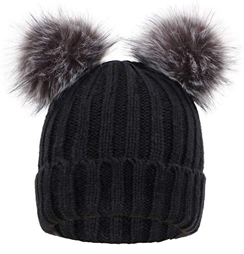 (Women's Winter Chunky Knit Pompom Ski Snowboard Beanie Hat)