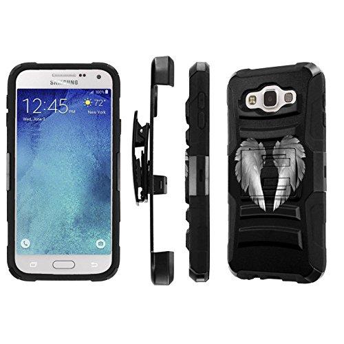 Cheap Cases Galaxy E5 Case, [NakedShield] [Black/Black] Heavy Duty Holster Armor Tough Case +..