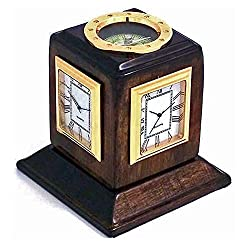 Desk Clocks - Multiple Time Zone Revolving Desk Clock With Compass