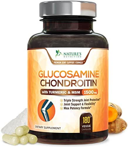 Glucosamine with Chondroitin Turmeric MSM Boswellia 1500mg Highest Potency for Hip, Knees & Back Pain Relief, Made in The USA, Helps Inflammatory Response, Antioxidant Joint Supplement - 180 Capsules