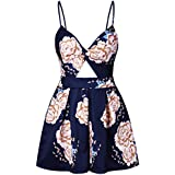 Ccassie Womens Sexy V Neck Rompers Summer Beach Spaghetti Strap Jumpsuit Backless Short Pants Rompers(Navy Blue-XL)