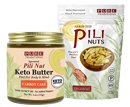Cashew Nut Cake - Pili Nut Keto Butter, Carrot Cake (4 oz) plus Sprouted Pili Nuts, Himalayan Salt (1.7 oz)