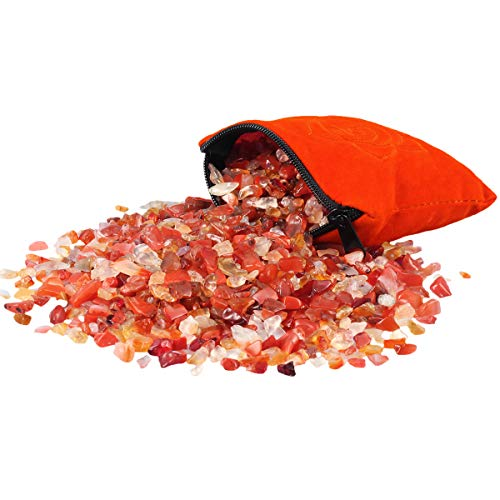 mookaitedecor 1/2 lb Carnelian Tumbled Stone Chips Crushed Quartz Crystals and Healing Stones with Chakra Bag ()