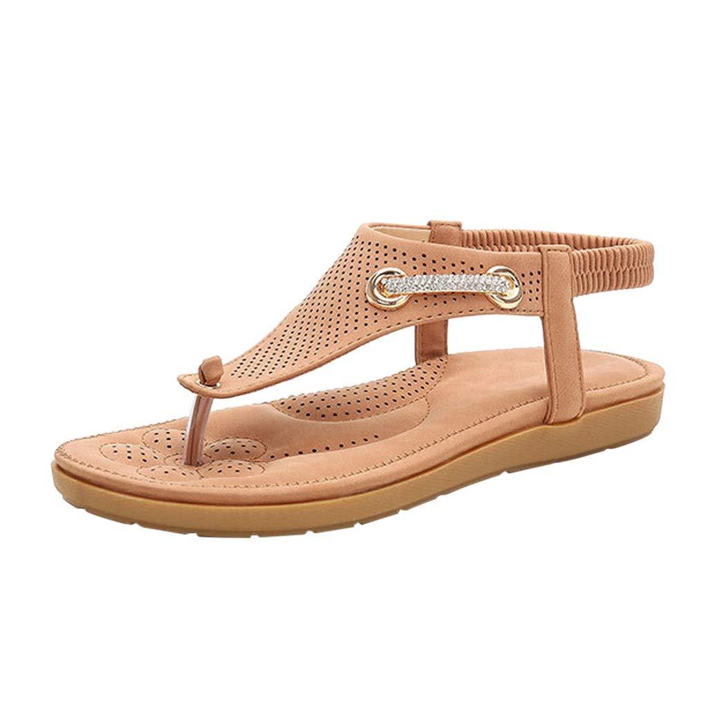 Fastbot Women's Summer Sandals Open Toe Casual Comfort Fashion Beach Rhinestones Roman able Sandas Pink