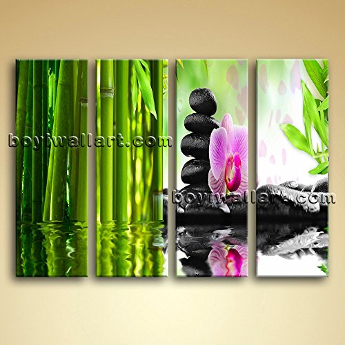 Large Relaxing Spa Feng Shui Floral Picture Modern Home Decor Canvas Print, Large floral Wall Art, Living Room, Sapphire by Bo Yi Wall Art (Image #3)
