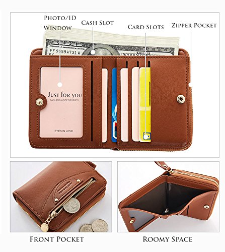 Small Compact Bifold Leather Pocket Wallet Purse for Women Clutch with ID Window Zipper Pocket Coin Card Cash Winered by Machao (Image #4)