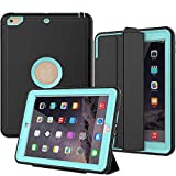 New iPad 2017/2018 Case, SEYMAC Smart Case [Protective Cover] with Auto Sleep Wake Function, Three Layer Drop Protection Rugged/Heavy Duty Case for New iPad 9. 7 inch (Light Blue)