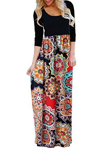 OURS Women's Casual 3/4 Sleeve Floral Print Dresses Ethnic Style Party Long Maxi Dresses with Pockets (X-Color 2, M) by OURS