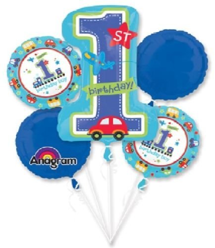 LoonBalloon BOYS Boy First 1st ONE #1 All Aboard Car Train (5) Birthday Balloons Bouquet Set