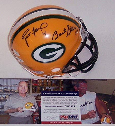 Bart Starr & Brett Favre Autographed Hand Signed Packers Mini Helmet - PSA/DNA Certified - Autographed NFL Mini Helmets