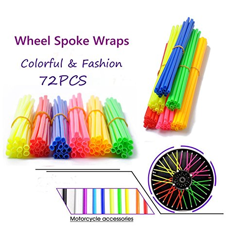 Ocamo 72PCS Motorcycle Dirt Bike Spoke Skins Covers Long Wraps Wheel Rim Guard Protector with Towel