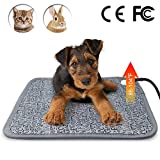 Vinwer Electric Pet Heating Pad - Heated Cat Bed - Heated Kennel Pad - Waterproof Kennel Heated Pad Adjustable Warming Mat with Chew Resistant Steel Cord for Dogs Cats Rabbit (S:17.7