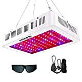 (US) HIGROW 1000W Double Chips LED Grow Light Full Spectrum Grow Lamp with Glasses and Rope Hanger for Indoor Greenhouse Hydroponic Plants Veg and Flower