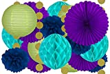 20 Pcs Hanging Party Decoration Supplies Kit In Blue, Teal, Purple, Green, and Gold -Includes 4 Tissue Fans, 4 Lanterns, 4 Honeycombs, 4 Pom Poms and 4 Strings of Dot Garland -Perfect For Any Occasion