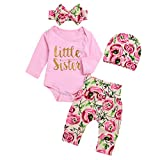 4pcs Baby Infant Outfits Set Little Sister Bodysuit+Floral Pants+Heanband+Cap (Color : Pink, Size : 0-3M)