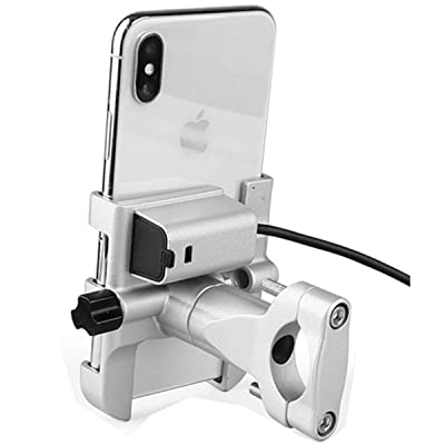 Aluminum Motorcycle Phone Holder Bicycle Bike MTB Handlebar Mount W/USB Charger for Cellphones for iPhone Xs Max XR XS X 7 8 Plus 6s 6 for Samsung Galaxy S9 S9+ S10 S10e S8 S7 S6