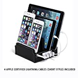 G.U.S Compact Charging Station, Detachable Universal Multi-Port USB Charging Station Desktop and Bedside Charging Stand Organizer. Black Leatherette PLUS Cable Ties & Set of 4 Cables