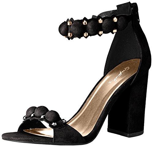 Qupid Women's Chester-141 Heeled Sandal Black O2wFwqov7