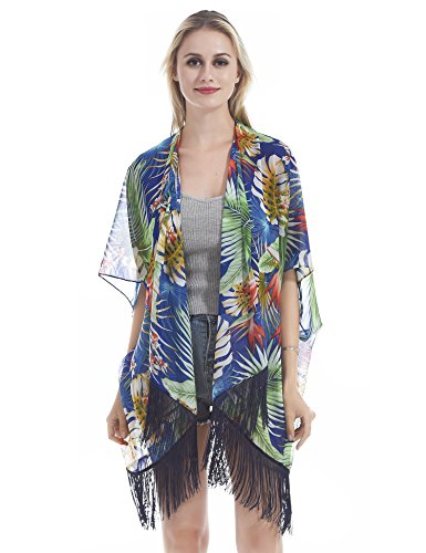 Hifand Women Bathing Suit Cover up Beach Bikini Swimsuit Swimwear Kimono Cardigan Tassel Vintage Miami Tropical Palm Tree - Tropical Floral Palm Tree