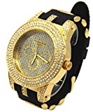 Firewings Mens Gold Case CZ Iced Out Bling Techno King Quartz Wrist Watch watches