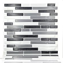 "Cocotik 10.5"" x 10"" Peel and Stick Tile Kitchen Backsplash Sticker Gray Brick, Pack of 4"