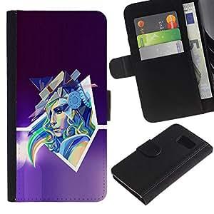 A-type (Arte abstracto de Pop neón Mujer) Colorida Impresión Funda Cuero Monedero Caja Bolsa Cubierta Caja Piel Card Slots Para Samsung Galaxy S6